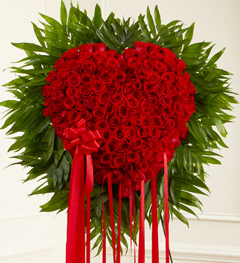 Red Funeral Heart Roses